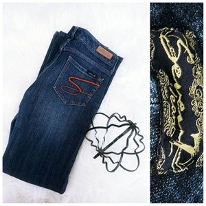 Seven 7 flare Jeans low rise med wash womans